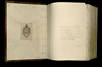 Image of the Gutenberg Bible open to endpapers.