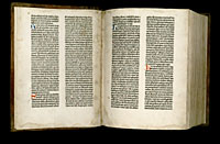 Image of the Gutenberg Bible open to pages 001 verso and 002 recto.