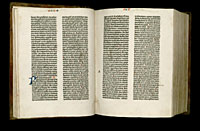 Image of the Gutenberg Bible open to pages 023 verso and 024 recto.